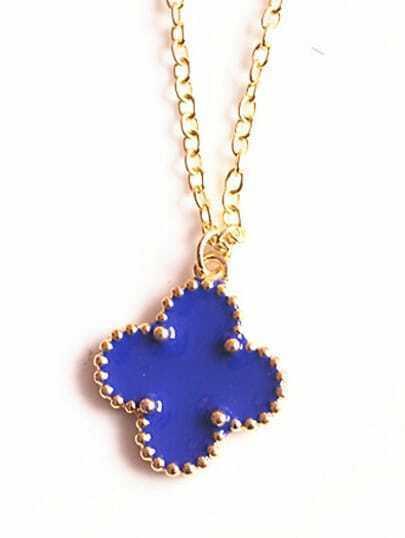 Blue Glaze Gold Flower Chain Necklace