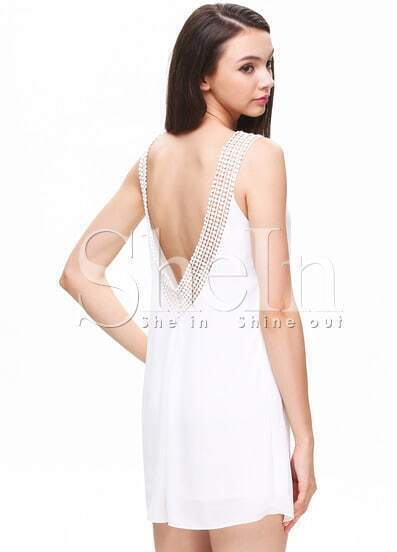 White Sleeveless Lace Scoop Back Shift Dress