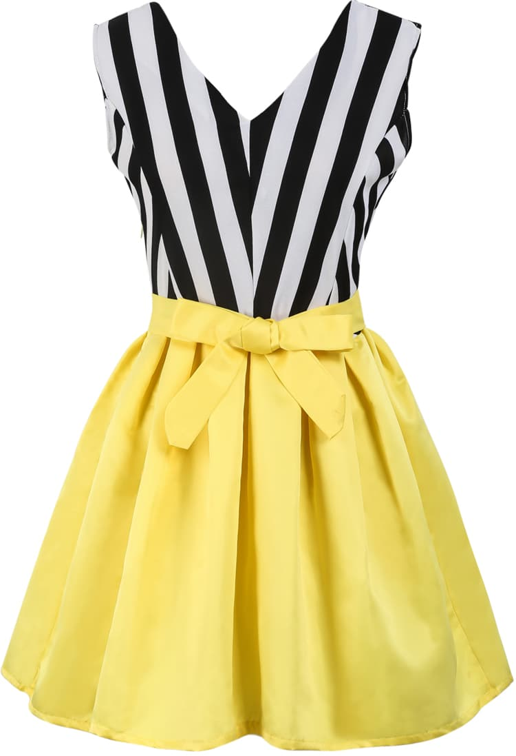 Black White Vertical Stripe Bow Contrast Yellow Dress -SheIn ...