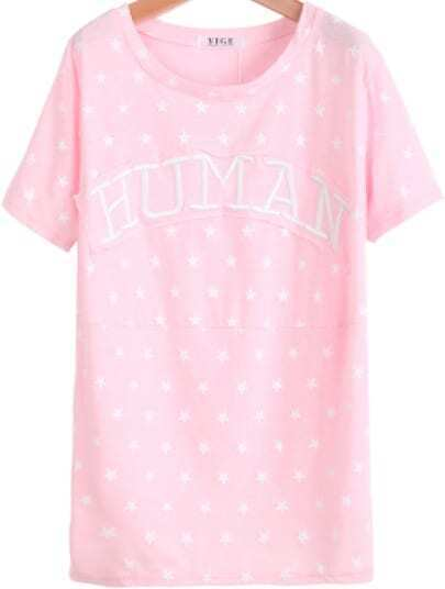 Pink Short Sleeve Stars HUMAN Print T-Shirt
