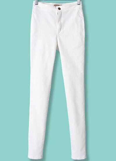 White High Waist Elastic Slim Pant