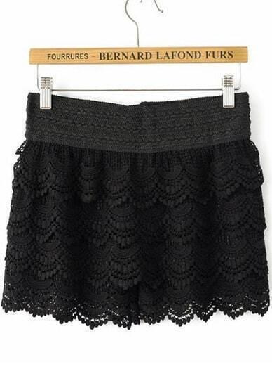 Black Elastic Waist Cascading Lace Shorts