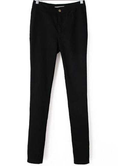 Black High Waist Elastic Slim Pant
