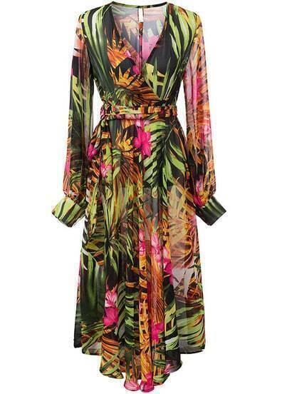 Multicolour V Neck Long Sleeve Leaves Print Dress