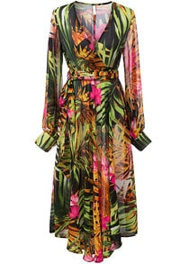 Muiticolour V Neck Long Sleeve Leaves Print Dress