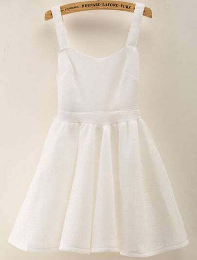 White Spaghetti Strap Bow Pleated Flare Dress