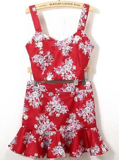 Top Crop Floral correa de espagueti con falda-rojo