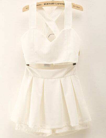 White Criss Cross Crop Top With Skirt Shorts