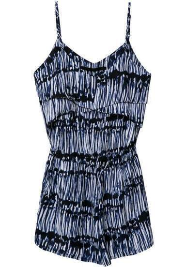 Blue Spaghetti Strap Striped Slim Jumpsuit