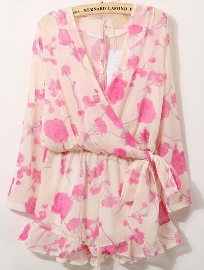 Pink V Neck Long Sleeve Floral Bow Jumpsuit