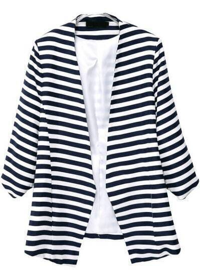Blazer suelto rayas manga larga-blanco y marino