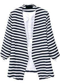 Navy White Striped Long Sleeve Loose Blazer