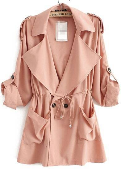 Pink Lapel Long Sleeve Pockets Loose Trench Coat
