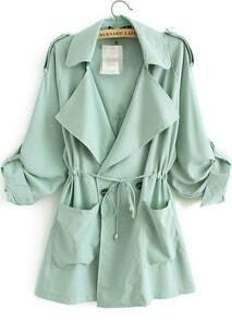 Green Lapel Long Sleeve Pockets Loose Trench Coat