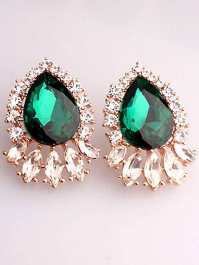 Green Drop Gemstone Gold Earrings