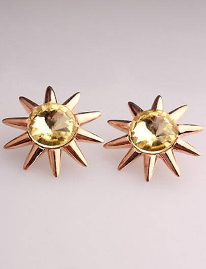 Yellow Gemstone Gold Sunflower Stud Earrings