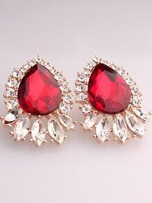 Red Drop Gemstone Gold Earrings