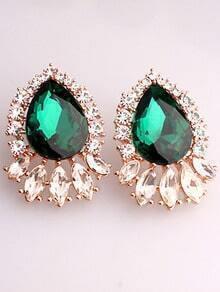 Green Drop Gemstone Gold Earrings