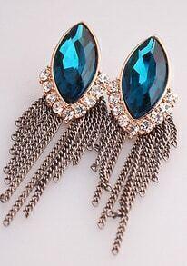 Green Gemstone Gold Diamond Chain Tassel Earrings