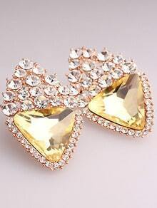 Yellow Triangle Gemstone Gold Stud Earrings