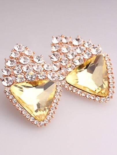 Yellow Triangle Gemstone Gold Stud Earrings