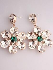 White Green Gemstone Gold Flower Earrings