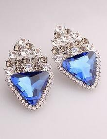 Blue Triangle Gemstone Silver Stud Earrings