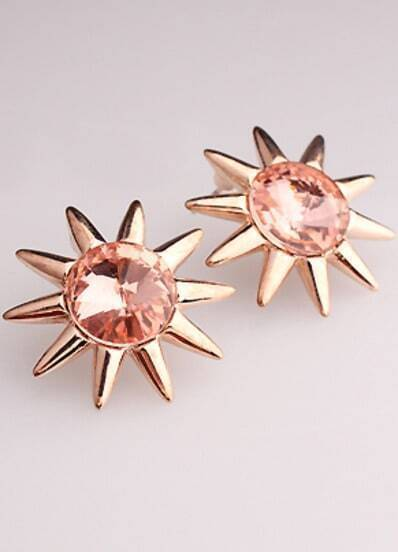 Red Gemstone Gold Sunflower Stud Earrings