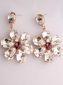 White Red Gemstone Gold Flower Earrings