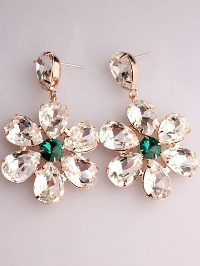 White Green Gemstone Gold Flower Earrings
