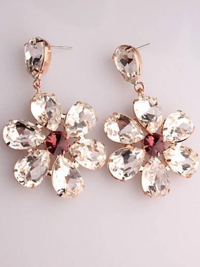 White Red Gemstone Gold Flower Earrings