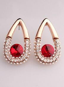 Red White Diamond Gold Drop Earrings