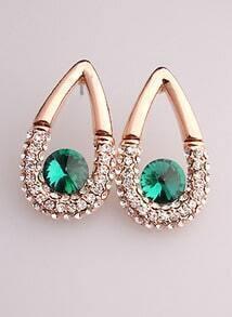 Green White Diamond Gold Drop Earrings