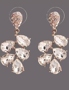 White Drop Diamond Gold Earrings