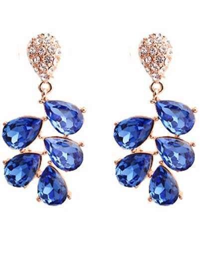 Blue Drop Diamond Gold Earrings