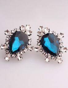 Blue Drop Gemstone Silver Stud Earrings