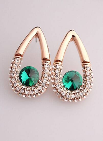 Green White Diamond Gold Drop Earrings