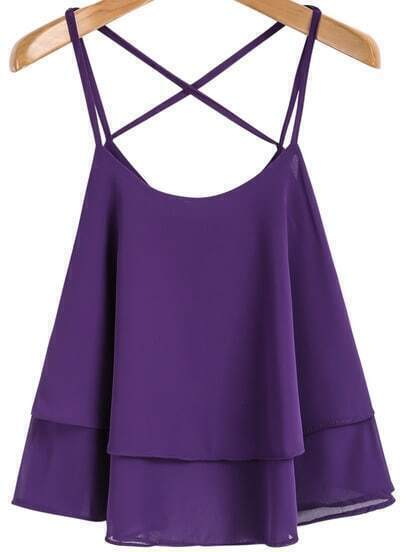 Purple Spaghetti Strap Double Layers Chiffon Vest