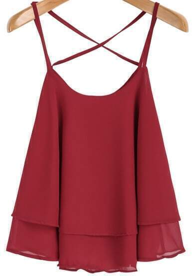 Red Spaghetti Strap Double Layers Chiffon Cami Top