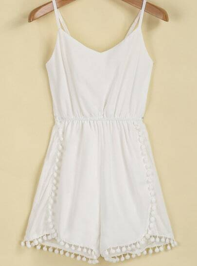 White Spaghetti Strap Twisted Ball Jumpsuit