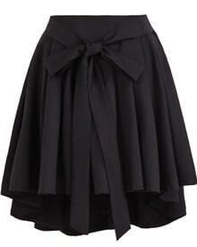 Black High Waist Belt Pleated Skirt