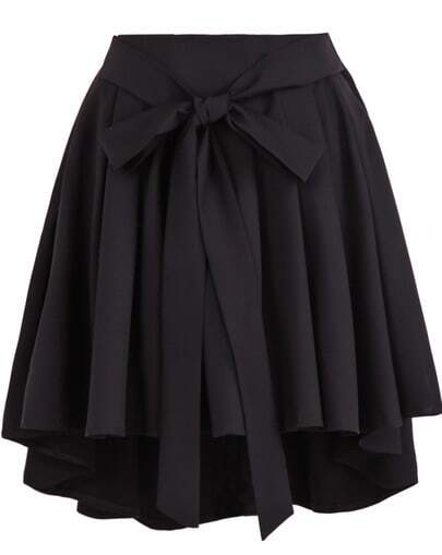 Black High Waist Belt Pleated Skirt