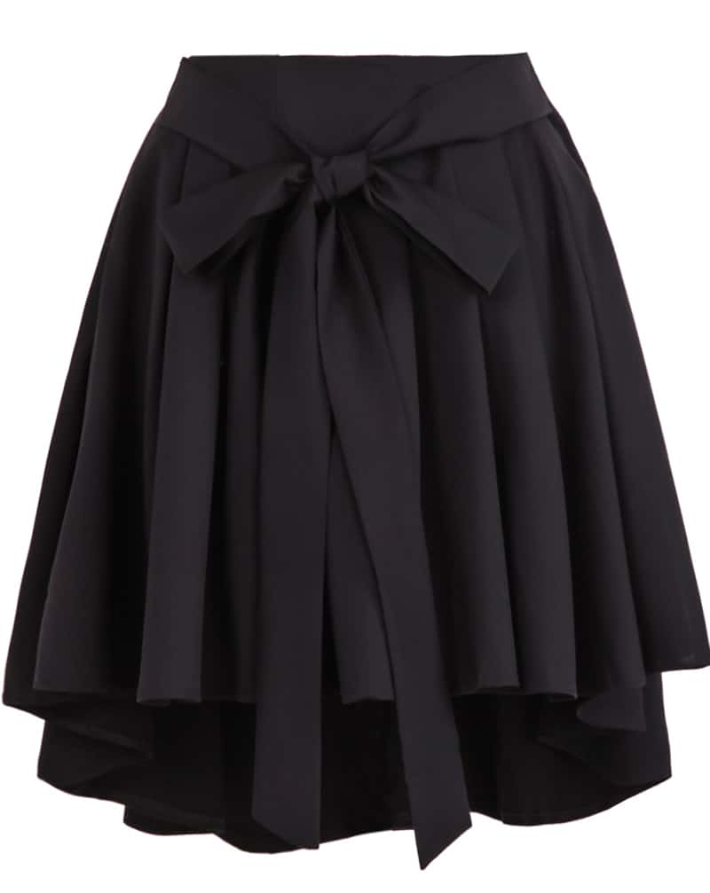 Black High Waist Belt Pleated Skirt -SheIn(Sheinside)