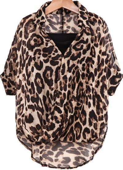 Leopard Lapel Batwing Sleeve Two Pieces Chiffon Blouse