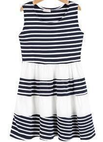 Navy White Striped Sleeveless Pleated Dress