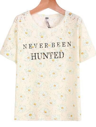 Light Yellow Short Sleeve Hollow Letters Print T-Shirt