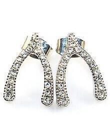 Fashion Silver V Shape Stud Earrings