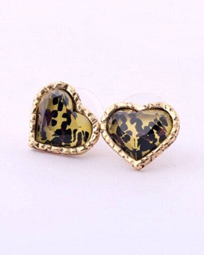 Gold Leopard Heart Stud Earrings