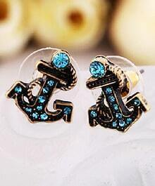 Blue Gemstone Retro Gold Anchor Stud Earrings