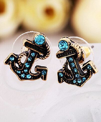 Blue Gemstone Retro Gold Anchor Stud Earrings